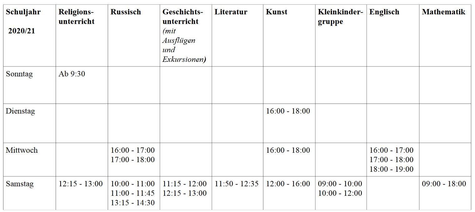 Sonntagsschule Plan